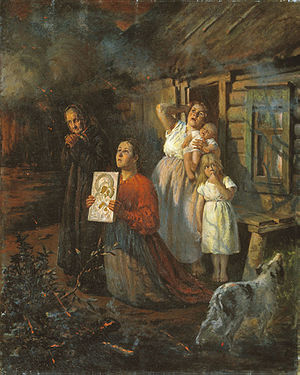 Fyodor Buchholz - Fire in the Village