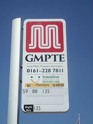 Transport for Greater Manchester - A GMPTE bus stop in 2006 displaying the double 'M' logo