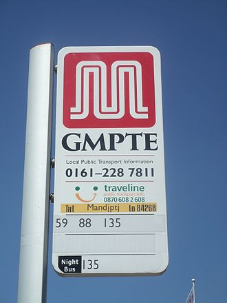Greater Manchester Passenger Transport Executive - A GMPTE bus stop in 2006 displaying the double 'M' logo