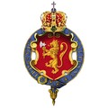 Garter encircled coat of arms of Haakon VII, King of Norway.png