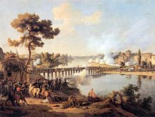 Painting of the Battle of Lodi by Lejeune showing a view of the bridge from the French side of the stream