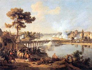 Marc Antoine de Beaumont - Battle of Lodi by Lejeune. Beaumont led the cavalry across the river upstream from the bridge.