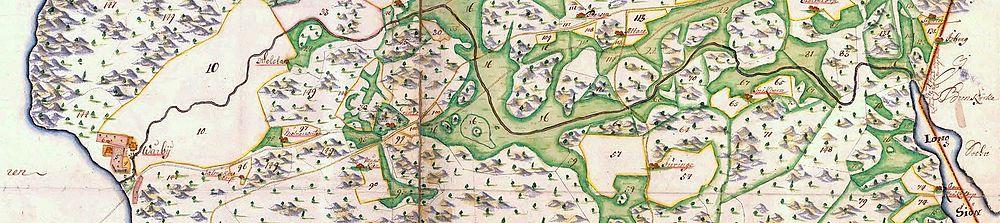 """""""General Carta öfwer Vårby säteri"""" fra 1703 med afløb igennem Smistaåns og Vårby-bækkens dalsænkning fra Långsøen til Mälaren."""