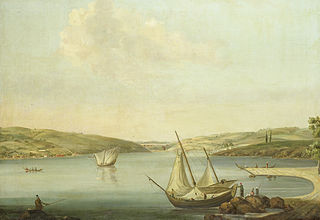 View of the Bosporus, taken from the Height of Beykoz to the northwest, with the Aqueduct of Justinian in the background