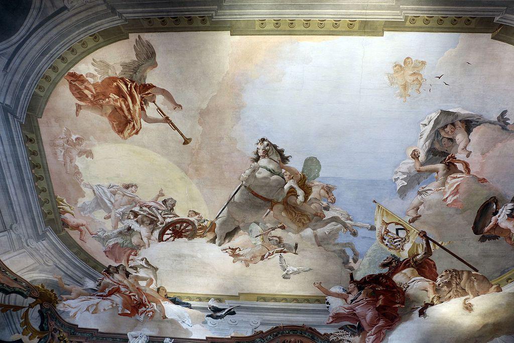 Giambattista tiepolo, allegoria nuziale di ludovico rezzonico e faustina savorgnan, 1758, tra quadrature di girolamo mengozzi colonna 01