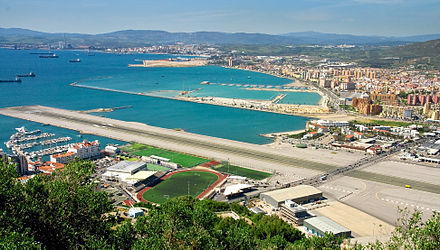 The main road that crosses Gibraltar Airport. Gibraltar Airport Main Highway.jpg