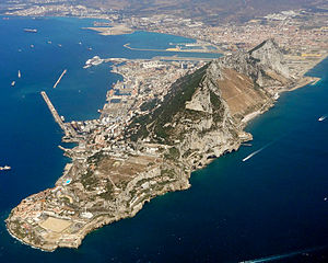 Fortifications of Gibraltar - An aerial view of modern Gibraltar, looking north-west