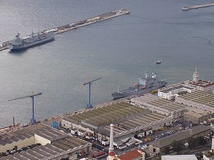 Gibraltar Squadron -  The naval dockyard at Gibraltar, used by visiting warships.