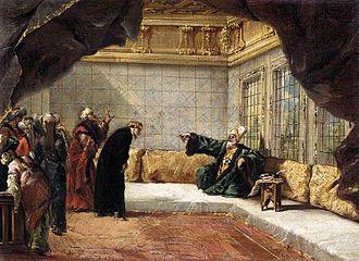 Giovanni Antonio Guardi - The Armenian Priest Dergumidas  before the Grand Vizier (1743)