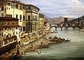 Giovanni signorini, veduta di firenze con il fiume arno da ponte vecchio verso ponte alle grazie, 1850 ca., 02.jpg