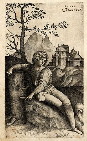 Giulio Campagnola - The Young Shepherd, engraving using stipple technique