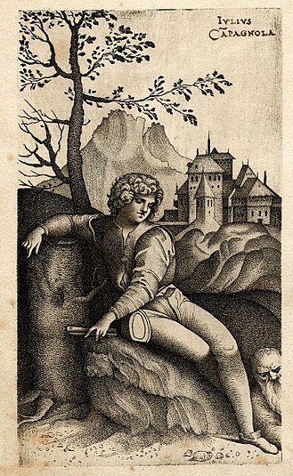 Stippling - The Young Shepherd, engraving using stipple technique by Giulio Campagnola, around 1510