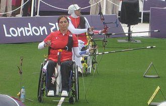 Gizem Girişmen - Gizem Girişmen (in front) competing against Iran's Zahra Nemati at the London 2012 Paralympics.