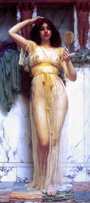 Sheer fabric - The Mirror (1899) by John William Godward