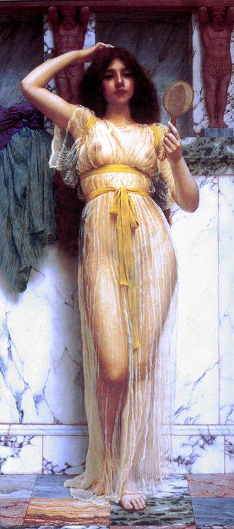 Sheer fabric - The Mirror (1899) by John William Godward