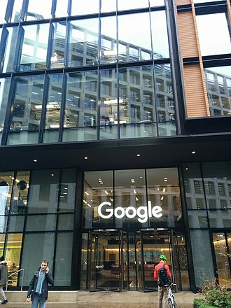 Google - Entrance of building where Google and its subsidiary Deep Mind are located at 6 Pancras Square, London, UK.