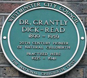 Grantly Dick-Read - Memorial plaque, 25 Harley Street, London