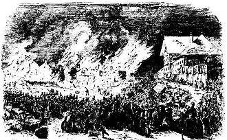 Great fire of Brisbane - A drawing depicting the scene at 11.30 pm on the night of 1 December 1864