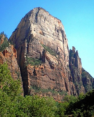 Navajo Sandstone - The Great White Throne in Zion National Park is an example of white Navajo Sandstone