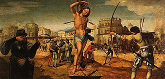 Gregório Lopes - Martyrdom of St Sebastian by Gregório Lopes. This painting was originally executed for the Round Church of the Convent of Christ in Tomar (c.1536). National Museum of Ancient Art, Lisbon
