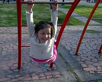Child development -  Girl playing in a play ground