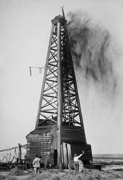 Gushers brought in many of Oklahoma's early oil fields--this one on February 21, 1922, near Okemah. Gusher Okemah OK 1922.jpg