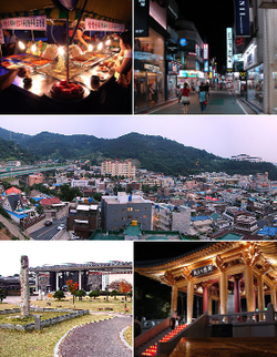 From top left: Pojangmacha in Gwangju's Night Market, Street of Gwangju, Cityscape of Gwangju, Gwangju Folk Museum, & Democracy Bell