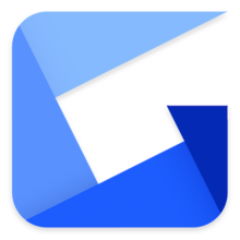 The blue Gyazo logo that resembles a folded paper in the shape of a G.