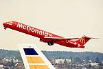 HB-IUH McDonnell Douglas MD-83 Crossair (McDonalds livery) ZRH 20MAR99.jpg