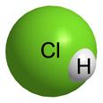 Molecular model of hydrogen chloride.