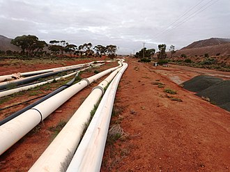 Pipeline transport - HDPE pipelines on a mine site in Australia.