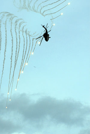 Flare (countermeasure) - A US HH-60H Sea Hawk helicopter launches countermeasure flares during a demonstration