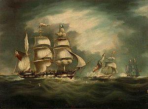 HMS Belle Poule (1806) - Image: HMS Belle Poule (1806), HMS Hermes (1811), and Gipsy