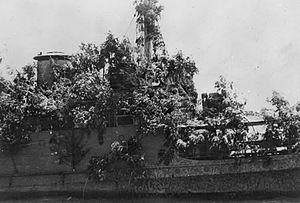 HNLMS Abraham Crijnssen (1936) - Close-up of the foliage used to camouflage the superstructure of the ship