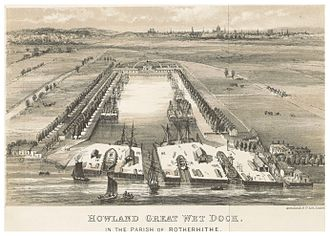 Rotherhithe - Howlands Dock in the parish of Rotherhithe (c.1850)