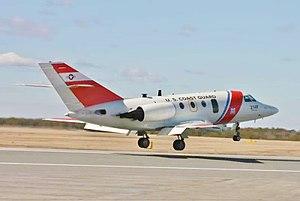 Coast Guard Air Station Cape Cod - A HU-25 lands at Otis