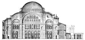 Sección de la iglesia de Santa Sofía en Constantinopla.