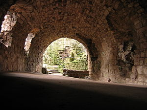Hailes Castle - The vaulted cellar beneath the 15th century range.