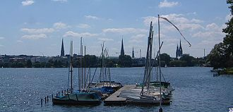 Außenalster - The Außenalster as seen from Rotherbaum;  in the background Hamburg's church towers