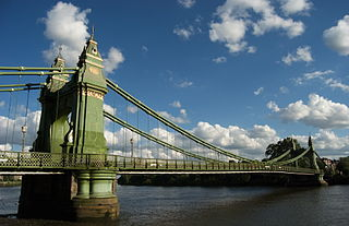 Hammersmith Bridge suspension bridge in London, England