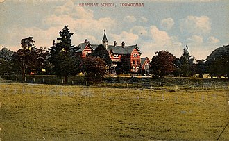 Toowoomba Grammar School - Hand coloured postcard of the main school building