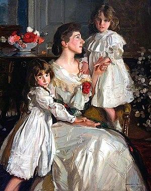 Harrington Mann - Portrait of Alice Marjorie Cunningham (d.1943) with her daughters Marjorie and Millicent (1902)