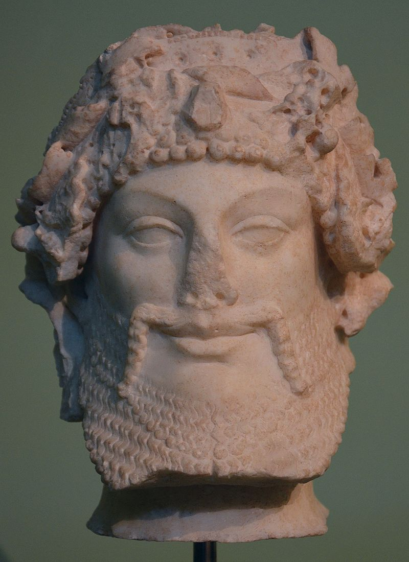Head of Priapus, refined Augustan version of archaic models dating back to the late 6th century BC, from the Horti Lamiani, Centrale Montemartini, Rome (22149963362).jpg