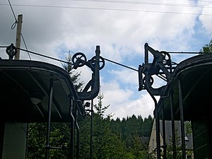 Heberlein brake - Roof equipment (with pulleys) for Heberlein brakes on wagons of a Saxon narrow gauge railway, in this case the Preßnitztalbahn