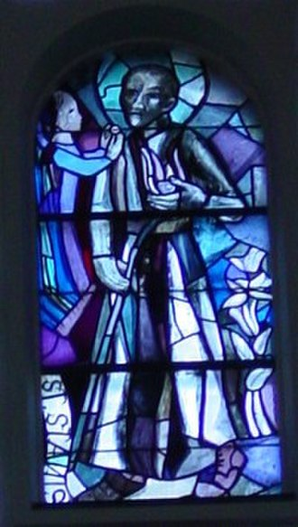Stanislaus Kostka - Portrait in stained glass, Church Liesing