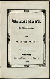 Deutschland. Ein Wintermährchen. Einband (Interimsbroschur) der ersten Separatausgabe 1844. (Quelle: Wikimedia)