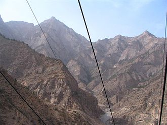 Ningxia - From a cable car running to the top of Helan Mountains.