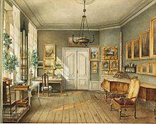 Musikzimmer von Fanny Hensel, Leipziger Straße 3, Berlin, Zeichnung von Julius Helfft, 1849 (Quelle: Wikimedia)