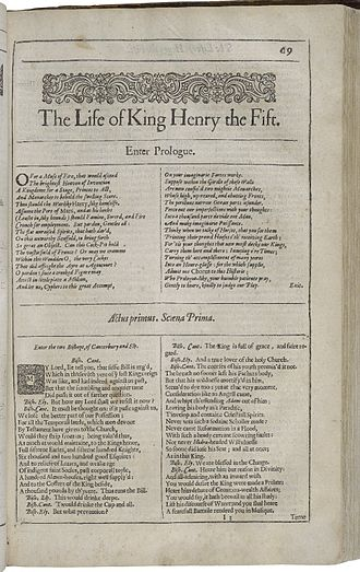 Henry V (play) - The first page of The Life of King Henry the Fifth, printed in the Second Folio edition of 1632
