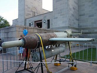 Henschel Hs 293 - Henschel Hs 293B guided bomb on display at the 2013 Australian War Memorial open day